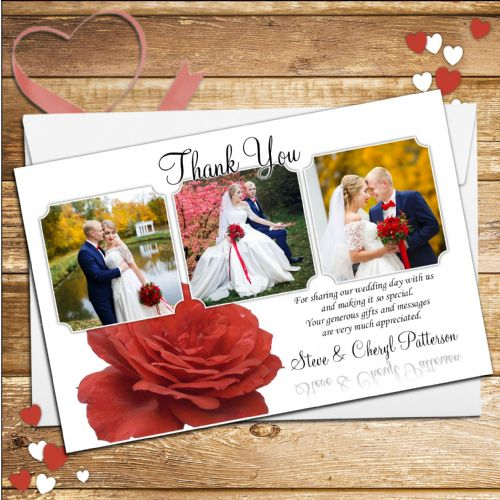 10 Personalised Red Rose Wedding Thank you Photo cards N92